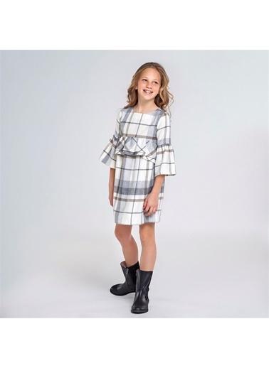 Mayoral Mayoral Kız Çocuk Ekose Elbise Gri